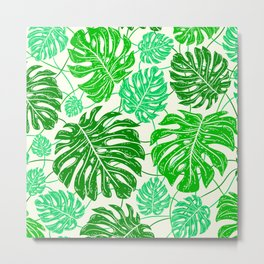 Tropical Jungle Leaves Island-Style Pattern in Gorgeous Green Metal Print