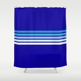 Retro Stripes on Blue Shower Curtain