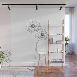 Botanical illustration line drawing - Anemones Wall Mural
