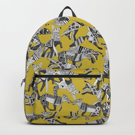 woodland fox party ochre yellow Backpack