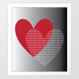 Red Heart Love Art Print