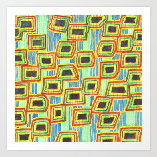Connected Rectangle Shapes with Vertical Stripes Pattern Art Print