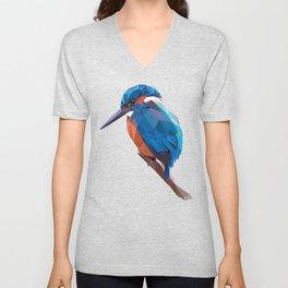 Kingfisher - Low poly digital art Unisex V-Neck