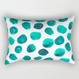 Esme - painted brushstroke emerald jade mint dots polka dots pattern design  Rectangular Pillow