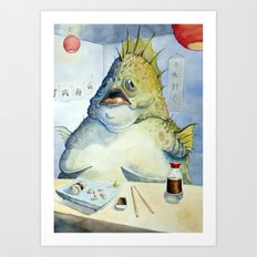 Fish Walks Into a Sushi Bar Art Print
