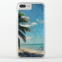 Caribbean Blue digital Artwork Isla Saona Tribute Clear iPhone Case