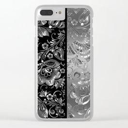 Metallic Silver Vintage Damasks Pattern Clear iPhone Case