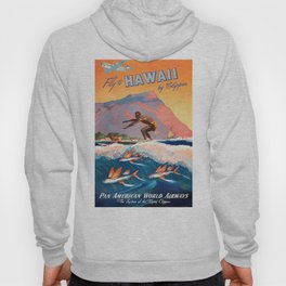 1947 Fly To Hawaii By Clipper Pan American Travel Poster Hoody