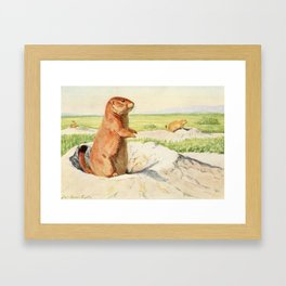 Fuertes, Louis Agassiz (1874-1927) - Burgess Animal Book for Children 1920 (Prairie Dog) Framed Art Print