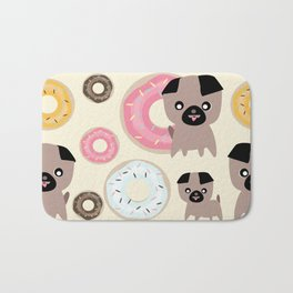 Pug and donuts beige Bath Mat