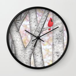 cardinals and birch trees Wall Clock