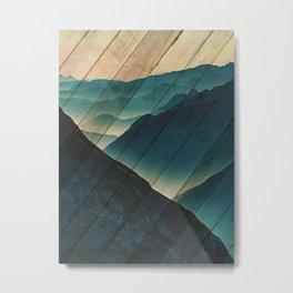Faux Wood Misty Blue Silhouette Mountain Range Rustic Landscape Photograph Metal Print