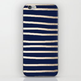 Drawn Stripes White Gold Sands on Nautical Navy Blue iPhone Skin