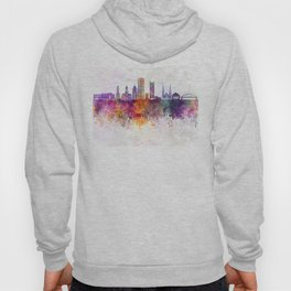 Pittsburgh V2 skyline in watercolor background Hoody