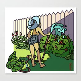 Watering Out Back Canvas Print