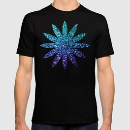 Beautiful Aqua blue Ombre glitter sparkles T-shirt