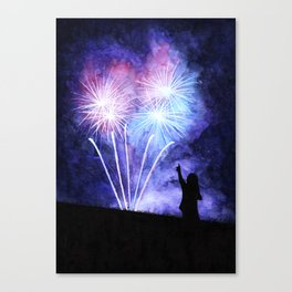 Blue and pink fireworks Canvas Print