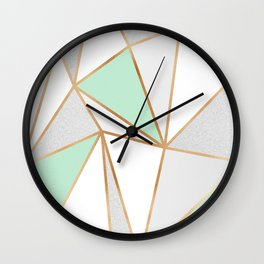 Mint Green, Grey & Gold Geo Wall Clock