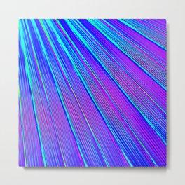 Blue Pink Stripes Metal Print