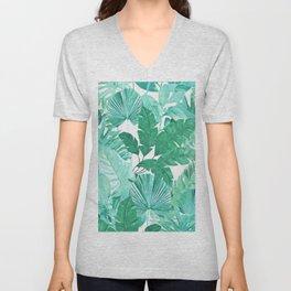 Tropical Leaf Green Unisex V-Neck