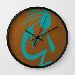 Teal Kokopelli Wall Clock