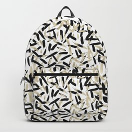 Black and White Feather Repeating Pattern Backpack
