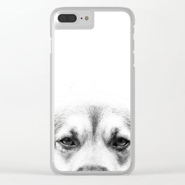 Dog portrait in black & white Clear iPhone Case