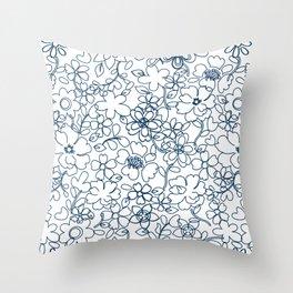 Vintage floral-Blue Throw Pillow
