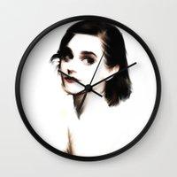 emma watson Wall Clocks featuring EMMA by André Joseph Martin