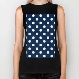 Polka Dots - White on Oxford Blue Biker Tank