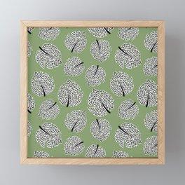 Abstract Monstera Leaf Pattern green Framed Mini Art Print