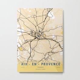 Aix - En Provence Yellow City Map Metal Print