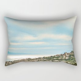 European Sunset | Colorful Costal Clouds Skyline Charming Ocean Town Baby Blue Yellow Tones Rectangular Pillow