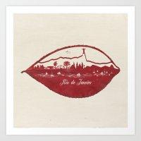 rio de janeiro Art Prints featuring Rio de Janeiro Skyline by Paula Belle Flores