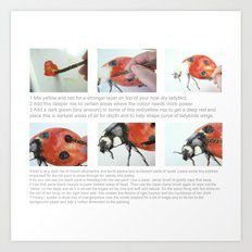 Art Demo on a Cushion - Ladybug Art Print