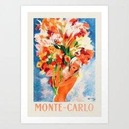 Monte Carlo retro travel poster - Flower Girl Art Print