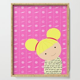 Pink Sugar and Spice Little Blonde Girl Illustration Serving Tray