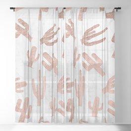 Modern rose gold cactus cacti pattern on white marble Sheer Curtain