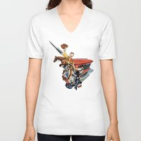 western V-neck T-shirts featuring Western by Lerson