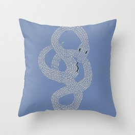 Grey on Blue Snake Throw Pillow