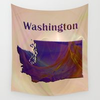 washington Wall Tapestries featuring Washington Map by Roger Wedegis