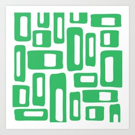 Retro Mid Century Modern Abstract Pattern 336 Green Art Print