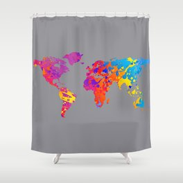 Rainbow World Map on Gray Background Shower Curtain