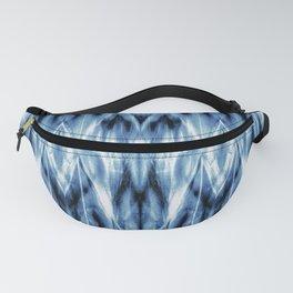 Blue Satin Shibori Argyle Fanny Pack