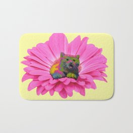 Colorful Kitty on Pink Daisy Flower Bath Mat