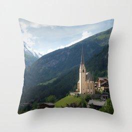 Heiligenblut And Großglockner Poster | Landscape Photography | Pfarrkirche Heiligenblut Austria Throw Pillow