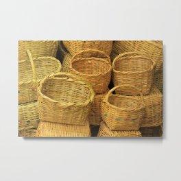 Woven Reed Baskets Metal Print