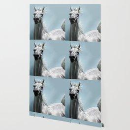 Arabian White Horse Painting Wallpaper