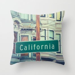 Retro California Street Sign Throw Pillow