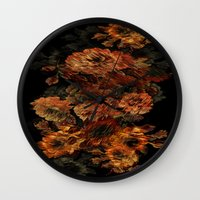 flower pattern Wall Clocks featuring Flower Pattern by Eduardo Doreni
